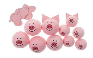 Wattenbollen - Varken (30/22 mm) roze, 10 stuks