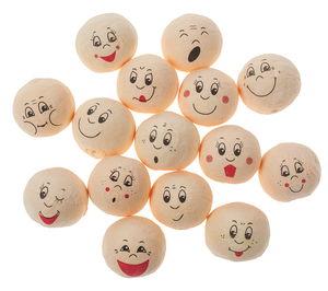 Wattekugeln,  15 Stück lustige Gesichter (20 mm)