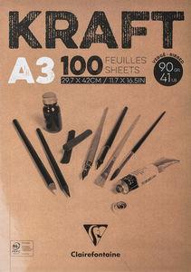Kraftpapier-Block Clairefontaine, 100 Blatt   (A3)