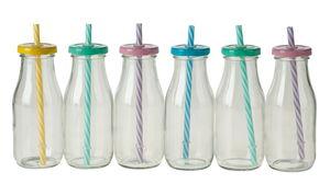Glazen drinkflesjes met rietjes, 6 stuks