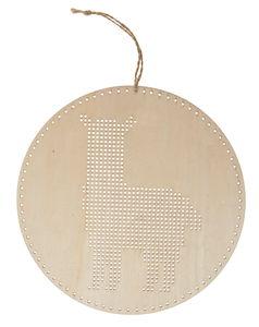 Houten borduurplaat - Lama (22 cm)