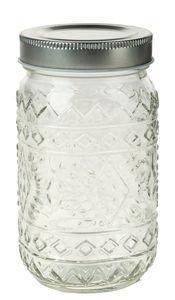 Bocal en verre, motif ethnique (500 ml)