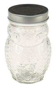 Glas met schroefdop - uil (400 ml)