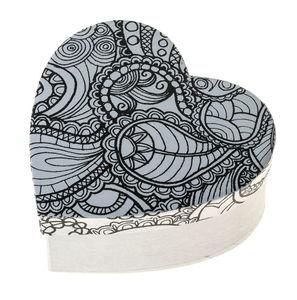 Herz-Box, Doodle Art Paisley (11 x 11 x 5 cm)