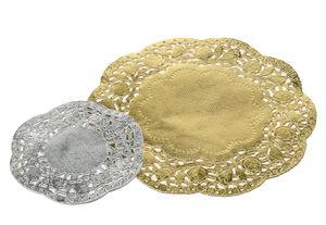 Papier dentelle rond, 40 pièces doré/argenté