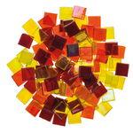 Mosaik Eis transparent/irisierend, 200 g gelb/rot