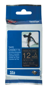 Brother TZe Textilbandkassette, gold/marineblau