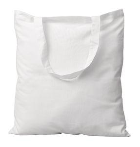 Katoenen tas (38 x 42 cm) kort hengsel, wit