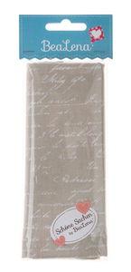 Tissu coton BeaLena beige/blanc avec inscription