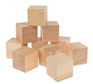 Grenen blokken (2e keus) 30 x 30 x 30 mm, 10 stuks