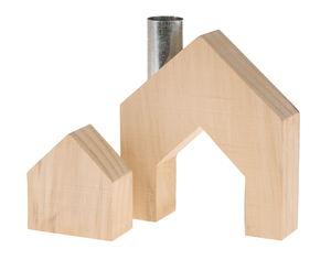 Holz-Haus, 2-teilig (10,5 x 2,7 x 11,5 cm)