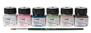Glas- en porseleinverf set - Chalky  6 x 20 ml
