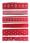 Satinbänder, 6er-Set rot/weiß  (je 1 m)