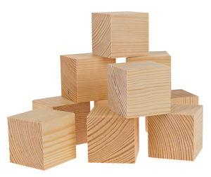 Cubes en pin -2ème choix- , 60 x 60 mm, 10 pièces