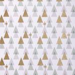 Baumwollstoff, grafische Tannen weiß/gold