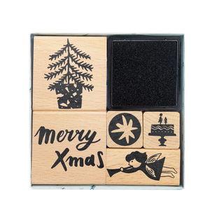 Houten stempelset - Kerstmis, 5 stempels + kussen