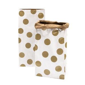 Blokbodem zakjes - Stippen, wit/goud, 2 stuks