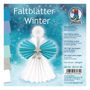 Faltblätter Winter, 100 Blatt, 6 Farben (14x14 cm)