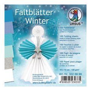 Vouwblaadjes Winter (10x10cm) blauwtinten, 100 vel
