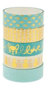 Masking tape hot foil & glitter, mint/goud 5 stuks