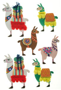 Papieren stickers - 3D Lamas, 6 stickers