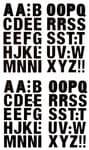 Alfabet stickers (20 mm) zwart, 96 stuks