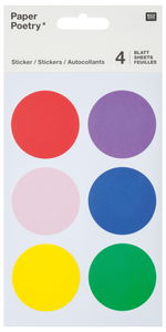 Stickers - cirkels (40 mm) bont, 24 stuks