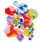 Pompons (1 - 5 cm) meerkleurig, 30 stuks