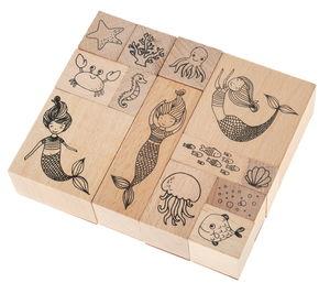 Holzstempel, 13er-Set Meerjungfrauen