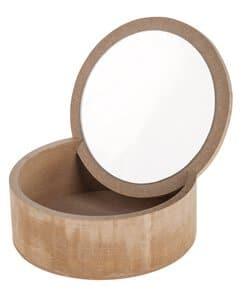 Holz-Box mit Spiegeldeckel,natur (15 x 6 x 15 cm)