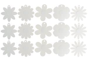 Karton-Blumen, 15 Stück weiß  (20 cm)