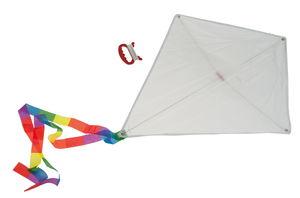 Vliegers om nog in te kleuren, wit, 10 stuks