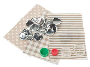 Set di bottoni rivestibili, beige, set da 12