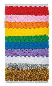 Rubans zigzag, divers coloris, 10 pièces