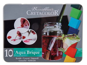 Aqua Brique Aquarellfarben, 10 Farben + Schwamm