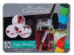 Aqua Brique aquarelverf set, 10 kleuren + spons