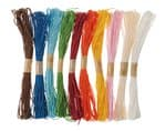 Set di 10 filati di rafia, colori assortiti