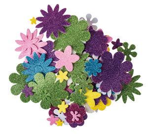Mousse caoutchouc paillettée mix fleurs, 200 pces