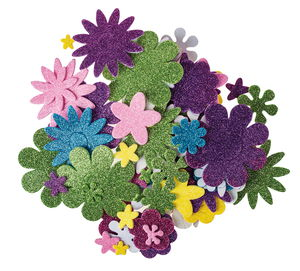 Glitter foam - Bloemen, zelfklevend, 200 stuks