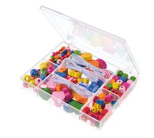 Houten kralen in box, gekleurd, 100 g