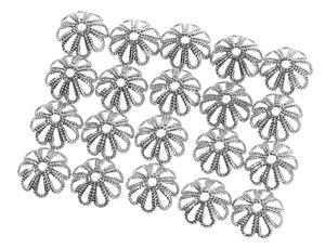 Perles calotte en métal, couleur platine