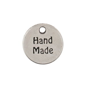Metalen hanger met tekst - Hand Made (13mm)