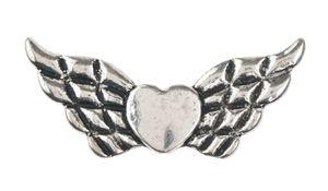 Metalen hart met vleugels (42x18 mm)