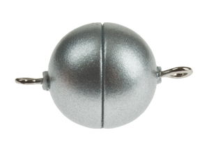 Fermoir boule magnétique synthétique, argenté mat