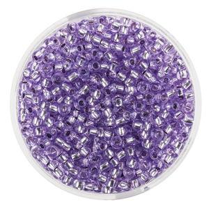 Perles de rocaille transparentes, lilas filet arge