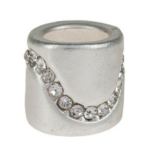 Perle en métal -Cylindre- , Avec strass...,