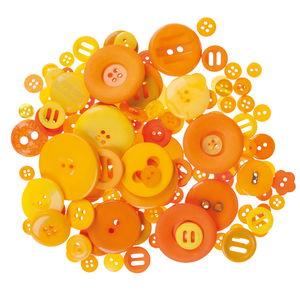 Kunststoff-Knöpfe, 100 g Orangetöne