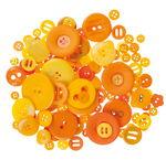 Botones de plástico, 100 g, tonos naranjas
