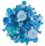 Kunststof knopen, 100 g, blauwtinten