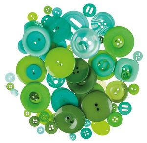 Kunststoff-Knöpfe, 100 g Grüntöne